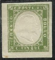 ANTICHI STATI: 1861 SARDEGNA EFFIGIE RE VITTORIO EMANUELE II CENT. 5c VERDE OLIVA MH FIRMATO SIGNED - Sardegna