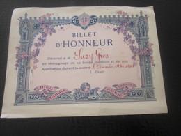 1940-41 BILLET D' HONNEUR Décerné à Suzy Gros Témoignage Bonne Conduite Application Diplôme Bulletin Scolaire WW2 - Diplômes & Bulletins Scolaires