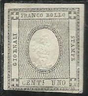 ANTICHI STATI: 1861 SARDEGNA CIFRA 1 CENT. 1c UNO GRIGIO CHIARO MLH FIRMATO SIGNED - Sardaigne