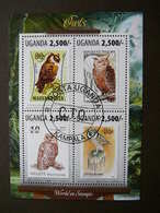 Owls. Eulen. Les Hiboux # Uganda # 2013 Used S/s #  Birds - Owls