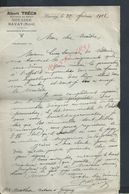LETTRE DE 1912 ALBERT TRÉCAT DOCTEUR EN DROIT NATAIRE À BAVAY : - Manuscripts