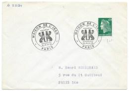 ENVELOPPE N° 1611 MARIANNE DE CHEFFER / MAISON DE L'IRAN PARIS 1972 / EXPOSITION PHILATELIQUE - Manual Postmarks