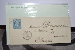 LETTR E AVEC TIMBRE 14C;CACHET A DATE CHALUS 31DEC53 .81. A PARIS 31DEC 53    CACHET CLERMONT .LOSANGE PETITS POINTS 705 - 1853-1860 Napoleon III
