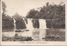 Circulated Postcard Of The Water Falls Of The Martim Mendes River In São Tomé And Príncipe.Postcard Years 1940.Rare.2scn - Sao Tome And Principe