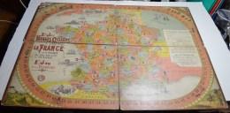 Jeu Des Voyages Cyclistes A Travers La France Et Jeu Du Vélodrome, Tres Grand Format 80x62 Cms Sur Carton Fort. - Other Collections