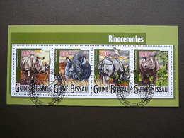 Rhinoceros. Nashörner # Guinea-Bissau # 2015 Used S/s # Rhino Mammals - Rhinozerosse