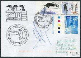 2013 Australia Antarctic A.A.T. AAT Polar A.N.A.R.E. CASEY Expedition Seal Penguin Cover SIGNED - Australian Antarctic Territory (AAT)
