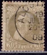 Belgium, 1905-11, King Leopold, 20c, Sc#86, Used - 1905 Thick Beard