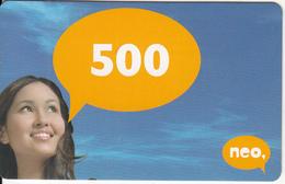 KAZAKHSTAN - Girl, NEO Prepaid Card 500 KZT, Used - Kazachstan