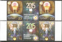 SRB 2015-620-1 INTERNATIONAL YEAR OF LIGHT, SERBIA, 2 X 2v + Labels, MNH - Serbien