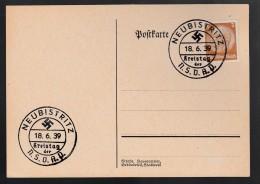 DR Postkarte Sonderstempel Kreistag NSDAP 1939 Neubistritz Ungelaufen K837 - Poststempel - Freistempel
