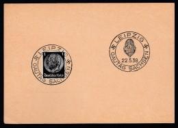 DR Postkarte Sonderstempel Gautag Sachsen 1938 Leipzig K1057 - Poststempel - Freistempel