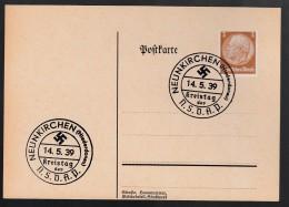DR Postkarte Sonderstempel Kreistag NSDAP 1939 Neunkirchen K1099 - Poststempel - Freistempel