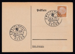 DR Postkarte Sonderstempel Kreistag NSDAP 1939 Zwettel Niederdonau K1113 - Poststempel - Freistempel