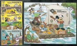 Dominica, Scott 2017 # 919-924,  Issued 1985,  Set Of 5+ S/S,  MNH,  Cat $ 16.25,  Disney - Dominica (1978-...)