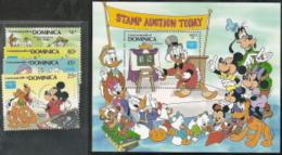 Dominica, Scott 2017 # 954-958,  Issued 1986,  Set Of 4+ S/S,  MNH,  Cat $ 12.95,  Disney - Dominica (1978-...)