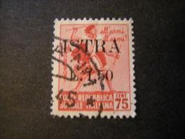 OCCUPAZ. IUGOSLAVA - ISTRIA, 1945, Sass. N. 27 , L. 1,50 Su C. 75, Usato, TTB - Jugoslawische Bes.: Istrien