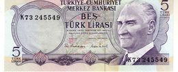 Turkey P.185 5 Lirasi 1976 Unc - Turchia