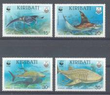 Mzn105s WWF FAUNA WALVISHAAI DUIKER DIVER WHALE SHARK MANTA ROG MANTA RAY KIRIBATI 1991 PF/MNH - Unused Stamps