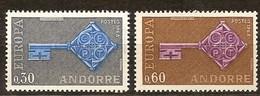 Andorra Andorre Cept 1968 Yvertn° 188-189 *** MNH Cote 35 Euro - Neufs