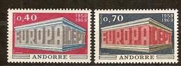 Andorra Andorre Cept 1969 Yvertn° 194-195 *** MNH Cote 40 Euro - Europa-CEPT