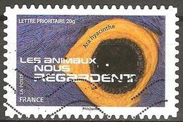 France - 2015 - Les Animaux Nous Regardent – Ara Hyacinthe - YT Adhésif 1158 Oblitéré - France