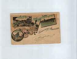 France > 1898-1900 SageN° 106 (paire)Sur CPA   SOUVENIR D'AUXERRE      6  AVRIL 1899 - 1898-1900 Sage (Type III)