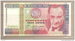 Peru' - Banconota Non Circolata FdS Da 50.000 Intis P-142 - 1988 - Perù