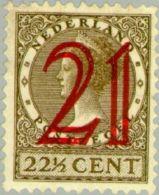 1929 Wilhelmina Hulpzegel 21ct Op 22,5 Ct Ongestempeld, MLH* - Periode 1891-1948 (Wilhelmina)
