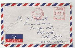 1973 MALAYSIA COVER METER NR123 Stamps Kuala Lumpur  To GB , Malaya - Malaysia (1964-...)