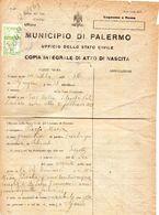 1923 CERTIFICATO CON MARCHE COMUNALI PALERMO - Erinnofilia