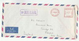1973 MALAYSIA COVER METER U412 Stamps Kuala Lumpur  To GB , Malaya - Malaysia (1964-...)
