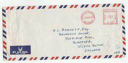 1973 MALAYSIA COVER METER U412 Stamps Harrisons Lister Engineering Ltd Kuala Lumpur  To GB , Malaya - Malaysia (1964-...)