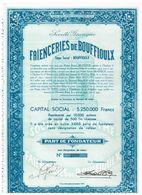 Action Ancienne - Sté Anonyme Des Faîenceries De Bouffioulx - Titre De 1950 - - Industrie