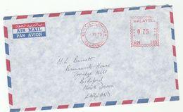 1973 MALAYSIA COVER METER RN395 Stamps Kuala Lumpur To GB , Malaya - Malaysia (1964-...)