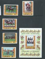 Liberia 1977 Montreal Olympics Equestrian Medal Winners Set Of 5 & Miniature Sheet MNH - Summer 1976: Montreal
