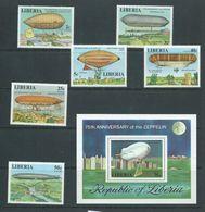 Liberia 1978 Zeppelins Set 6 & Miniature Sheet MNH - Zeppelins