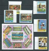 Liberia 1978 Argentina Soccer World Cup Winners Set Of 6 & Miniature Sheet MNH - Coupe Du Monde