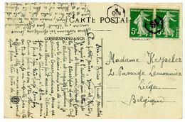 CP DATEE D'AIX LES BAINS SAVOIE SEPTEMBRE 1920 PAIRE 5C SEMEUSE (1 DFT) OBLIT 16 ARRIVEE EN BELGIQUE LIEGE - Postmark Collection (Covers)