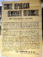45 ORLEANS FRANC MACONNERIE PLACARD ANTI MACONNIQUE DENONCANT L'OPPOSITION A LA FETE DE JEANNE D'ARC 1904 - Documents Historiques