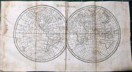 MAPPEMONDE CARTE DU MONDE ANNEES 1820 PLANISPHERE CARTE GEOGRAPHIQUE QUELQUES MOUILLURES 31 X 16 CM - Geographical Maps