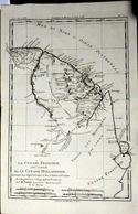 GUYANE FRANCAISE CARTE GEOGRAPHIQUE 18° GUYANE DRESSEE PAR BONNE VERS 1770 BEL ETAT 37 X 24 CM AUTHENTIQUE DECORATIVE - Cartes Géographiques