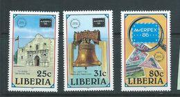 Liberia 1986 Ameripex Set 3 MNH - Liberia