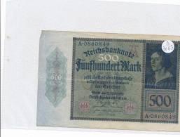 Billets -B3083- Allemagne - 500 Mark 1922 (type, Nature, Valeur, état... Voir  Double Scan) - [ 3] 1918-1933 : Repubblica  Di Weimar
