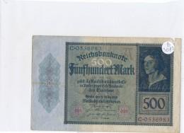 Billets -B3082- Allemagne - 500 Mark 1922 (type, Nature, Valeur, état... Voir  Double Scan) - [ 3] 1918-1933 : Repubblica  Di Weimar