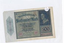 Billets -B3081- Allemagne - 500 Mark 1922 (type, Nature, Valeur, état... Voir  Double Scan) - [ 3] 1918-1933 : Repubblica  Di Weimar