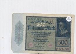 Billets -B3080- Allemagne - 500 Mark 1922 (type, Nature, Valeur, état... Voir  Double Scan) - [ 3] 1918-1933 : Repubblica  Di Weimar