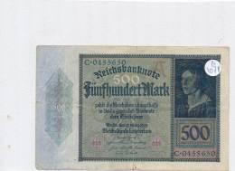 Billets -B3078- Allemagne - 500 Mark 1922 (type, Nature, Valeur, état... Voir  Double Scan) - [ 3] 1918-1933 : Repubblica  Di Weimar