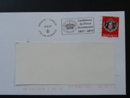 08/12/2017 Bicentenaire Carabiniers Du Prince Flamme Monaco Sur Lettre Postmark On Cover - Poststempel
