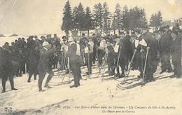 Les Sports D'hiver Dans Les Cévennes (ski) - Un Concours De Skis à St Saint Agrève, Le Départ Pour La Course - Winter Sports